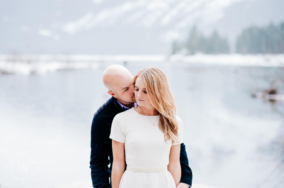 snowy Washington engagement