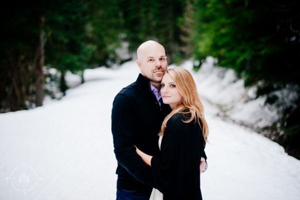 Nikki and Drew's Snowy Washington Engagement