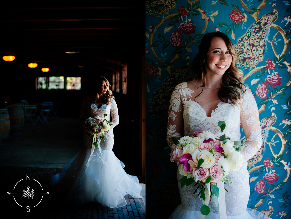Dramatic light bridal portrait with vintage wallpaper and a pink and white bouquet.