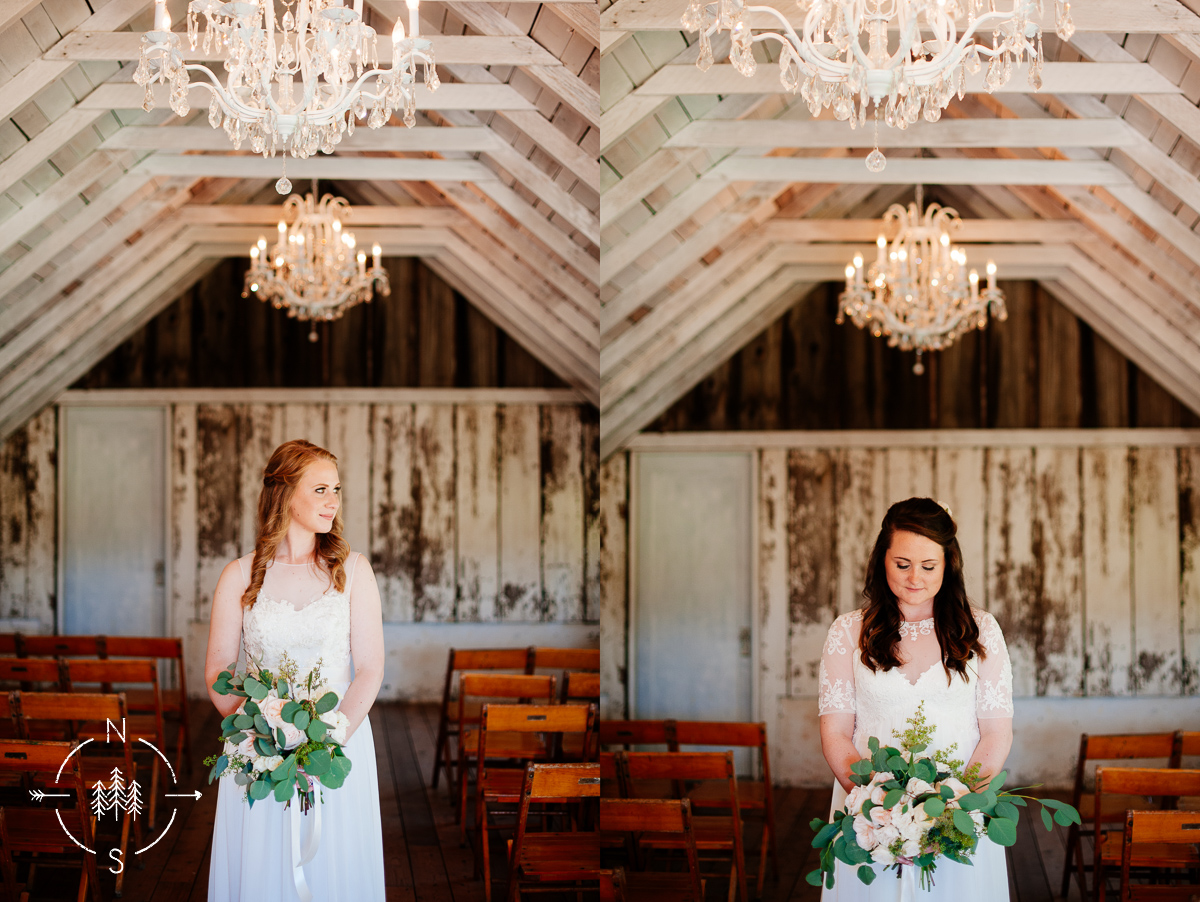 Portrait of brides in a rustic barn at the wedding venue of Wayfarer Farm in Whidbey Island, WA.