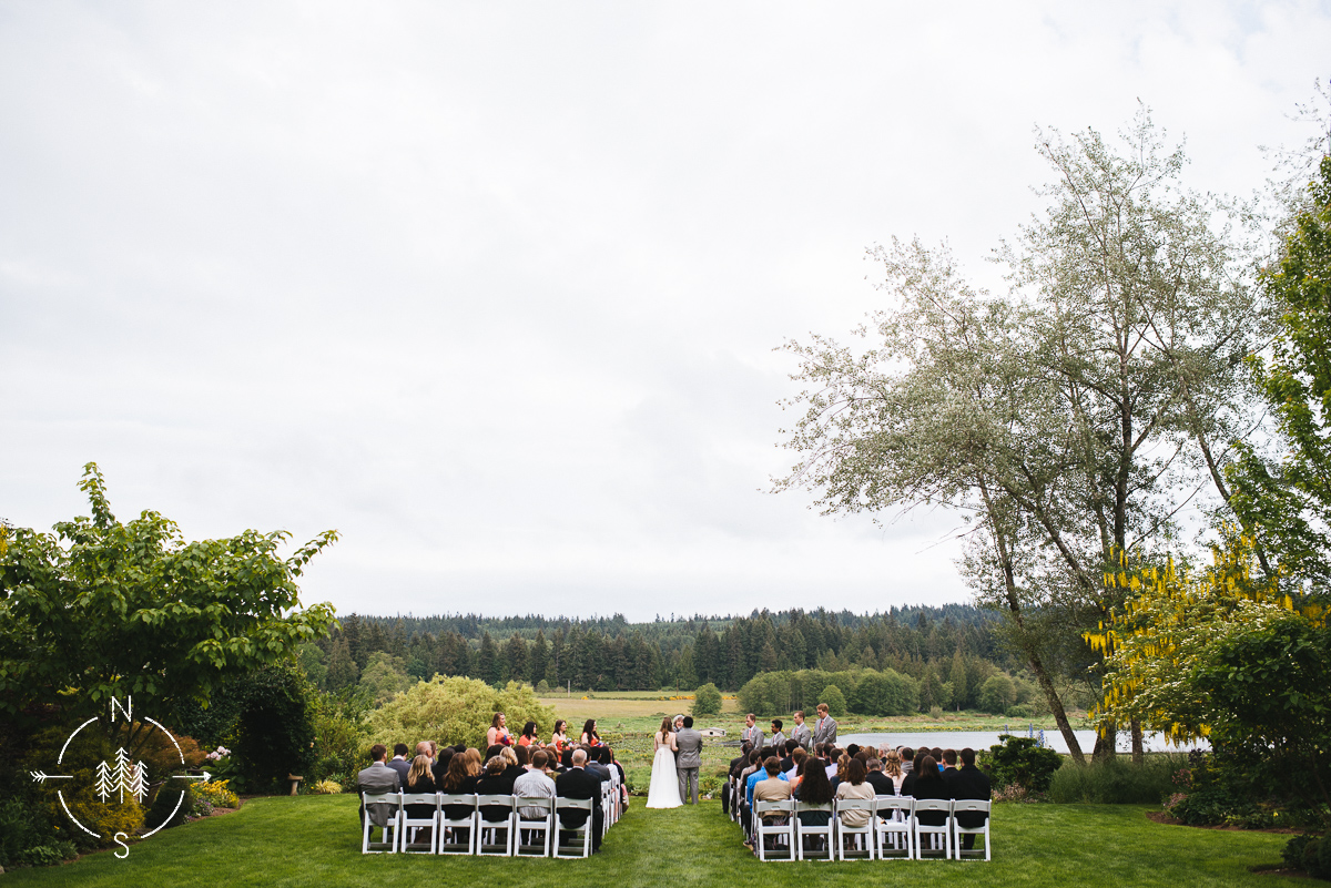 Wedding ceremony at Fireseed Catering on Whidbey Island.