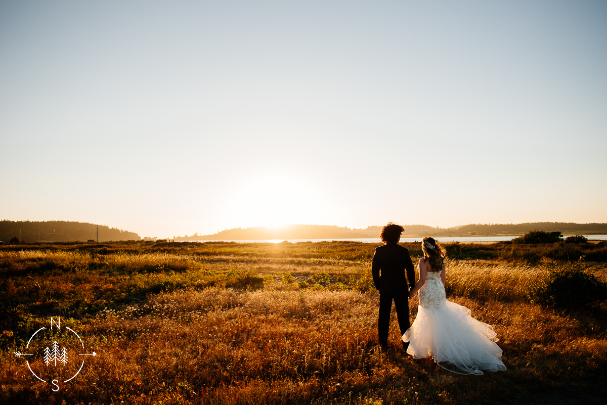 Sunset bridal portraits during the golden hour at Admiralty Bay.